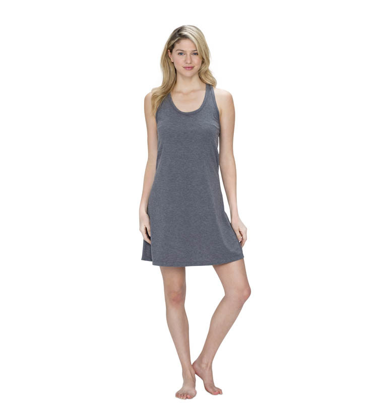 828 women raceback sleep dress heathergrey front