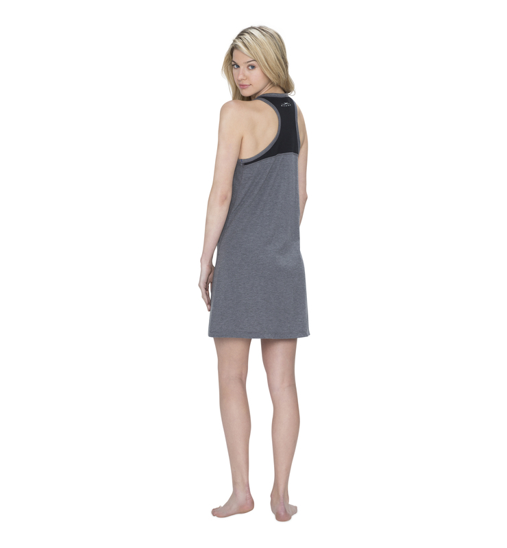 828 women raceback sleep dress heathergrey back